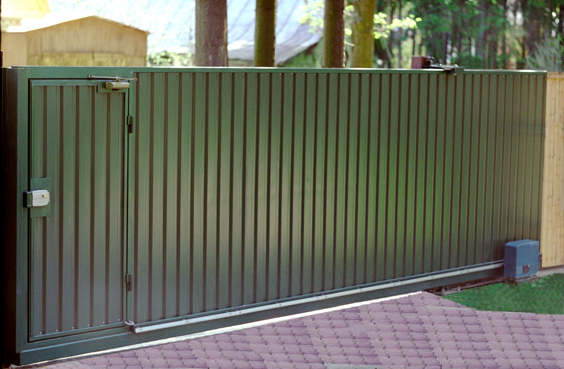 Откатные ворота из метало профиля ворота металлические дешевые на дачу